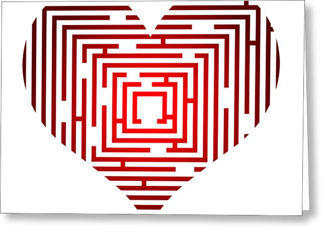 Maze In The Heart Greeting Card