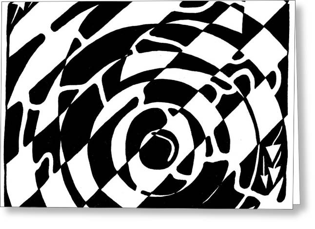 Maze Of The Number Six Greeting Card by Yonatan Frimer Maze Artist