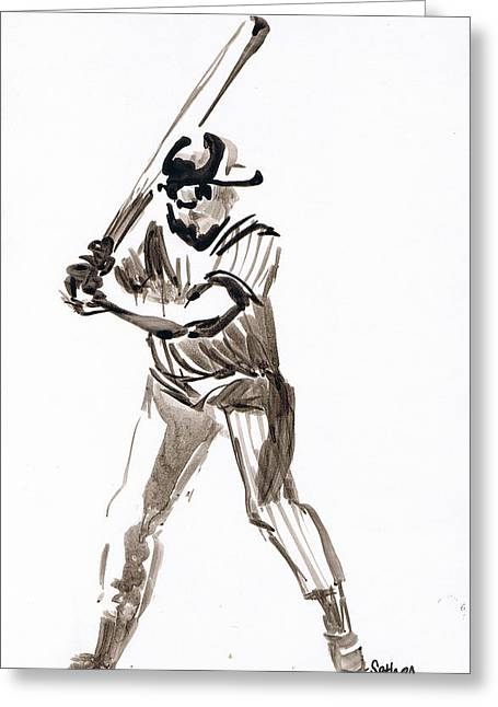 Mbl Greeting Cards - MBL Batter Up Greeting Card by Seth Weaver