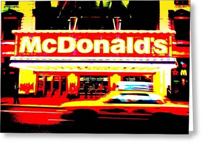 Mc Donalds On Broadway  Greeting Card by Funkpix Photo Hunter