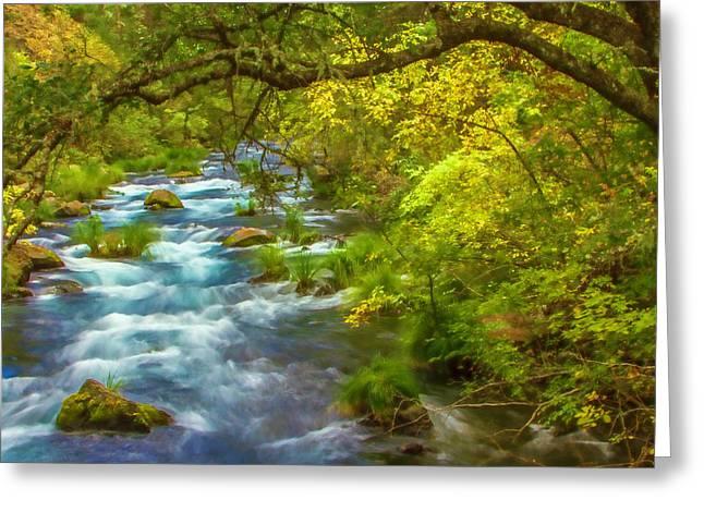 Mcarthur-burney Falls Creek Painterly Greeting Card