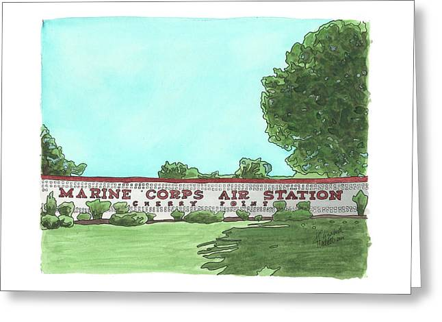 Greeting Card featuring the painting Mcas Cherry Point Welcome by Betsy Hackett