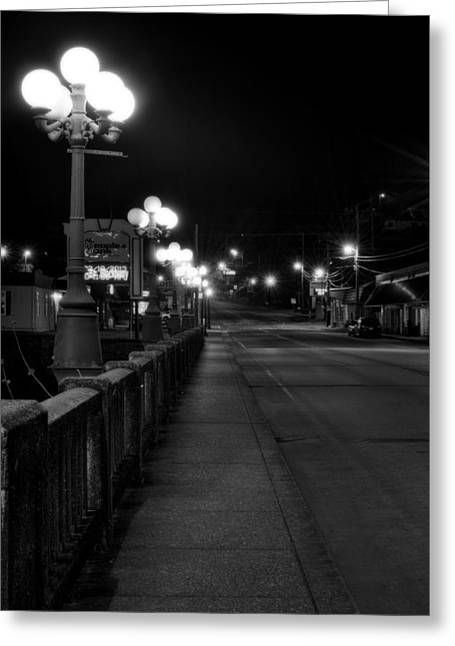 Mccaysville Bridge At Night In Black And White Greeting Card by Greg Mimbs