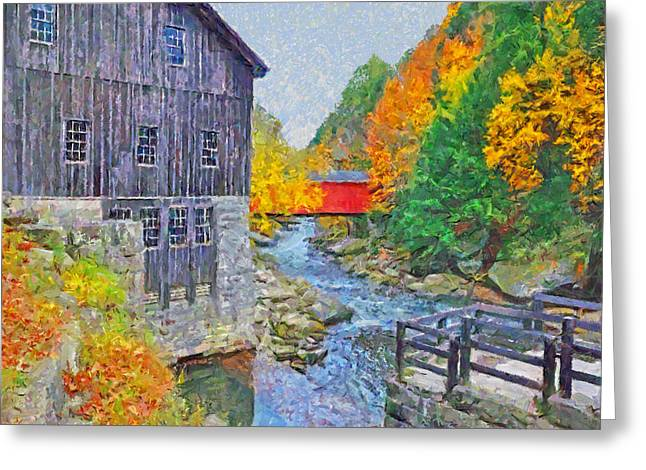 Greeting Card featuring the digital art Mcconnells Mill State Park  by Digital Photographic Arts