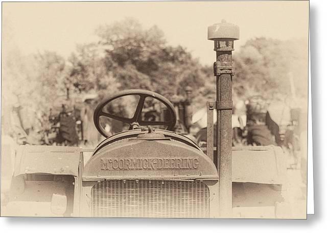 Mccormick Deering Tractor In Sepia Greeting Card