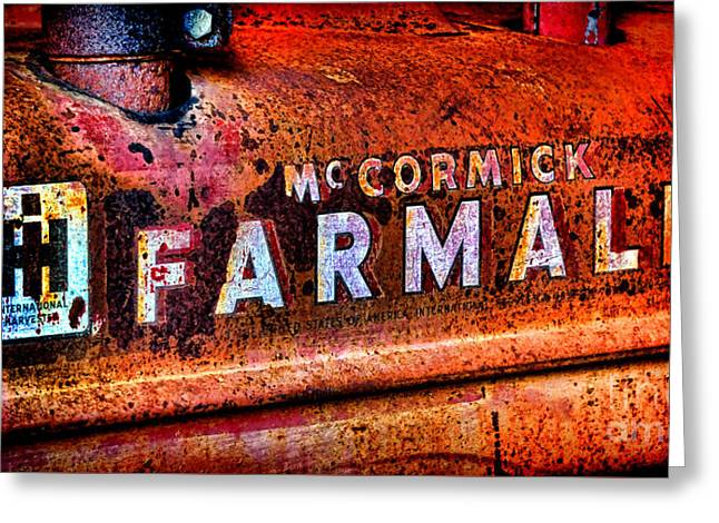 Mccormick Farmall Grunge Greeting Card by Olivier Le Queinec