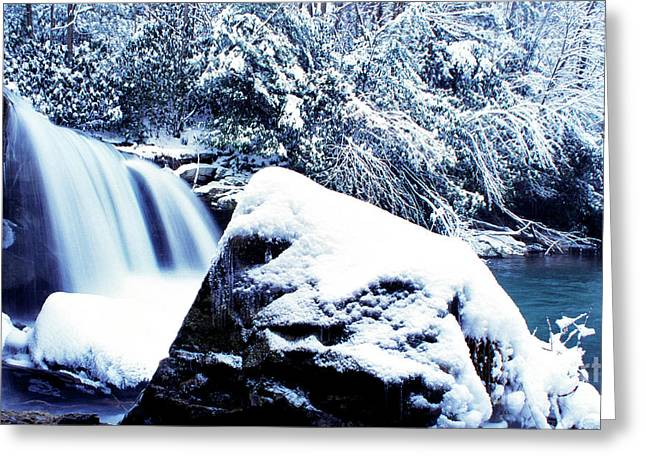 Mccoy Falls With Snow Greeting Card