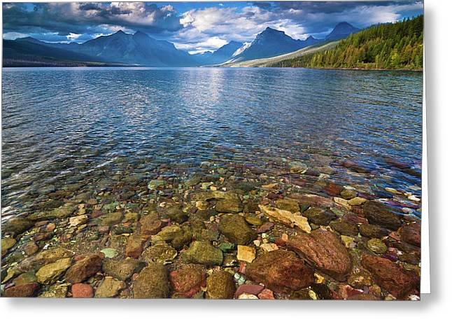 Lake Mcdonald Greeting Cards - McDonald Lake Colors Greeting Card by Greg Nyquist