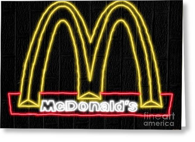 Mcdonald's Neon Greeting Card by Daniel Janda