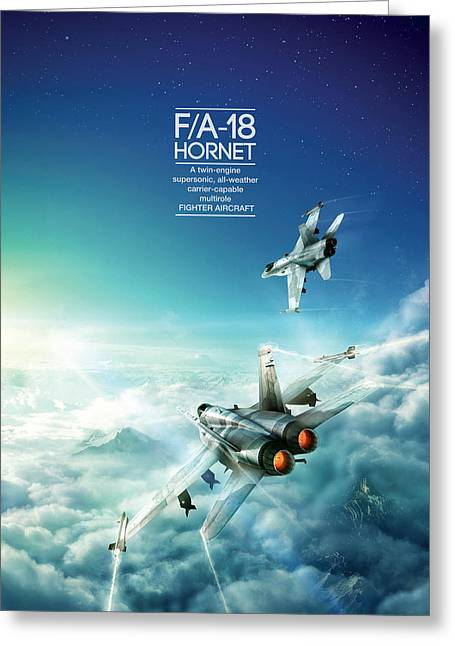 Mcdonnell Douglas F/a-18 Hornet Greeting Card by Andrew Statkevych