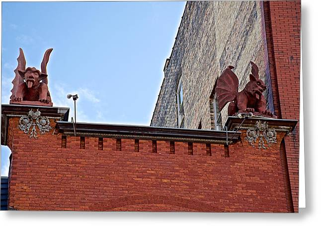 Mcfadden's Gargoyles In Downtown Grand Rapids-michigan Greeting Card by Ruth Hager