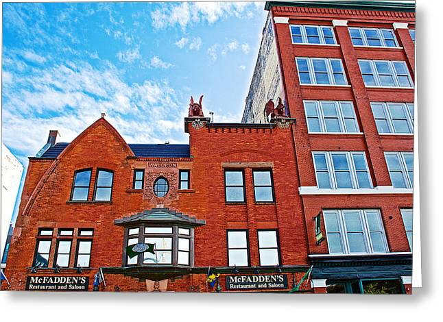 Mcfadden's In Downtown Grand Rapids-michigan Greeting Card by Ruth Hager