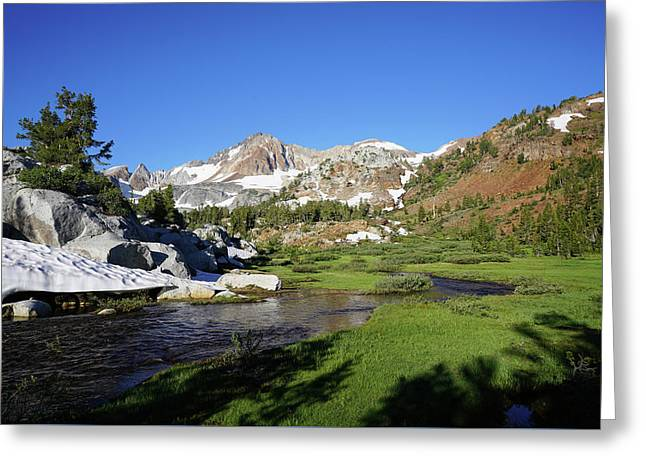 Mcgee Creek Below Red And White Mountain Greeting Card by Dale Matson