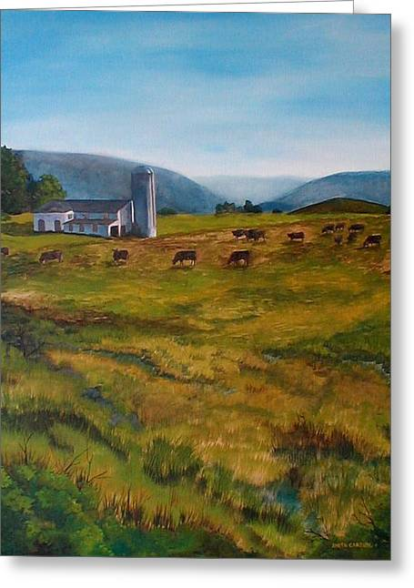 Pastureland Paintings Greeting Cards - McKenzies Farm Greeting Card by Anita Carden
