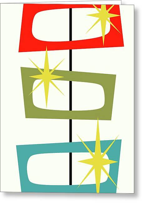 Greeting Card featuring the digital art Mcm Shapes 3 by Donna Mibus