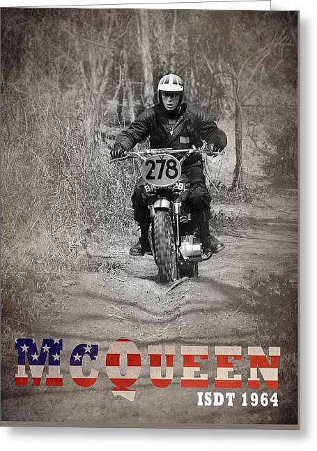 Motorcycle Poster Greeting Cards - McQueen ISDT 1964 Greeting Card by Mark Rogan
