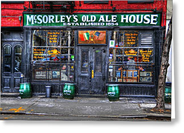 Iconic Places Greeting Cards - McSorleys  in Color Greeting Card by Randy Aveille