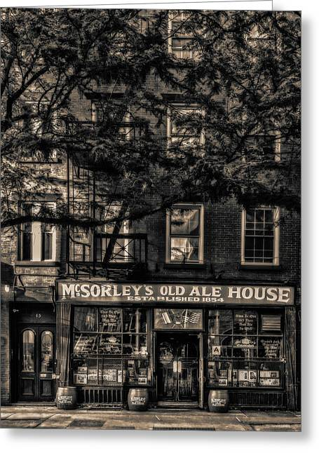Greeting Card featuring the photograph Mcsorley's Old Ale House Nyc Bw by Susan Candelario