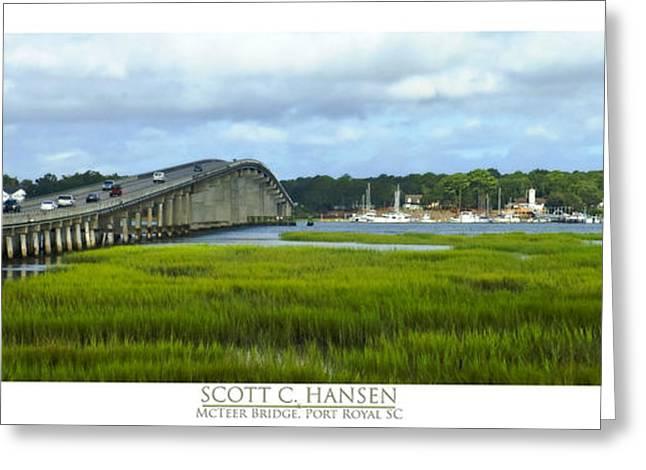 Blue Sailboats Greeting Cards - McTeer Bridge Greeting Card by Scott Hansen