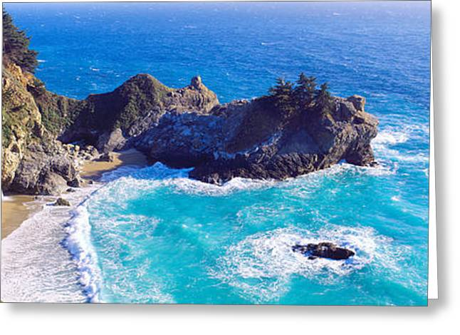 Mcway Falls, Mcway Cove, Julia Pfeiffer Greeting Card by Panoramic Images