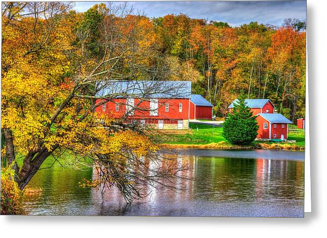 Md Country Roads - Outbuildings Along The Shore Of Lake Merle At Lake Linganore Frederick County Greeting Card