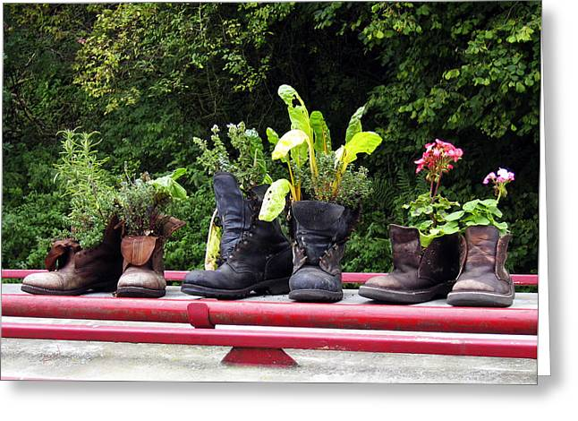 Boats Greeting Cards - Me Garden Boots Greeting Card by Kurt Van Wagner