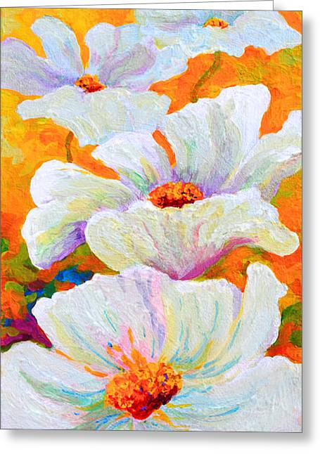 Meadow Angels - White Poppies Greeting Card by Marion Rose