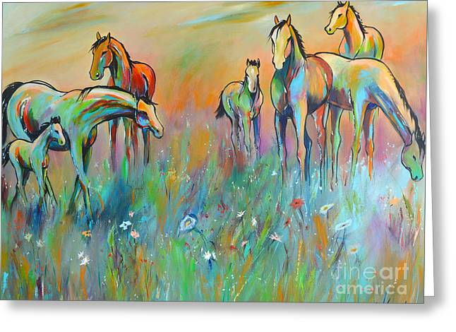 Greeting Card featuring the painting Meadow by Cher Devereaux