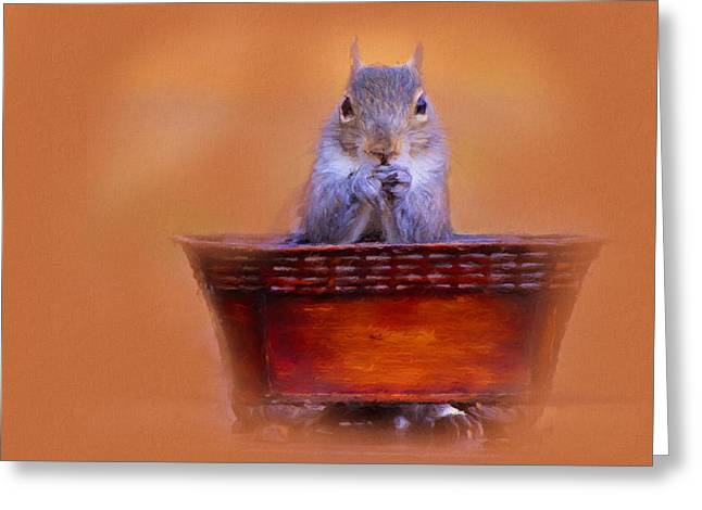 Mealtime Prayers Squirrel Art Greeting Card