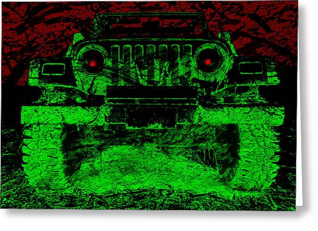 Mean Green Machine Greeting Card