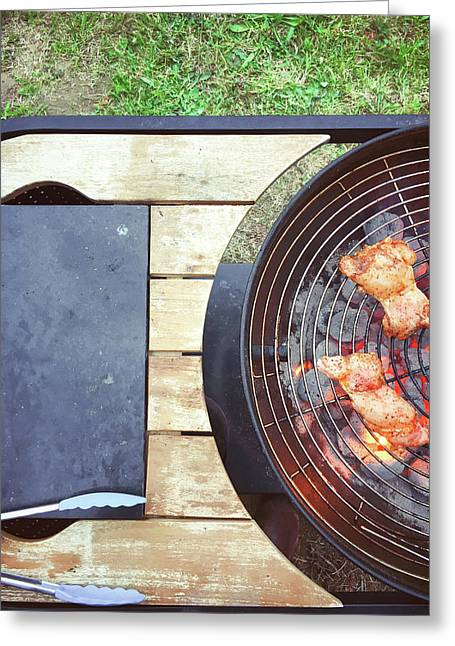 Meat On The Barbeque Greeting Card
