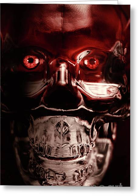 Mech War Machine. Crystalised Robot Skull Greeting Card by Jorgo Photography - Wall Art Gallery