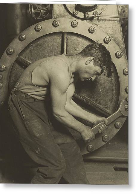 Mechanic And Steam Pump Greeting Card