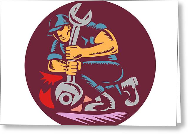 Mechanic Wrench Unscrewing Circle Woodcut Greeting Card by Aloysius Patrimonio