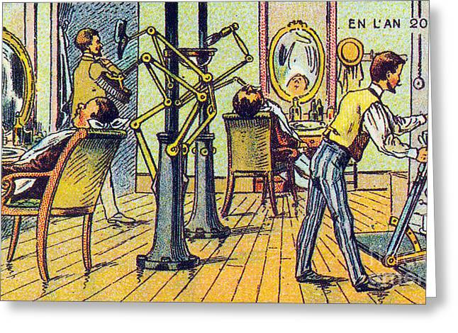 Mechanical Barber, 1900s French Postcard Greeting Card