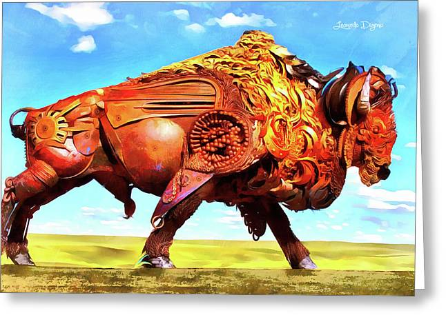Mechanical Bull Greeting Card by Leonardo Digenio