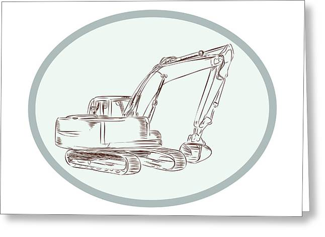 Mechanical Digger Excavator Oval Etching Greeting Card
