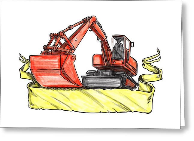Mechanical Digger Excavator Ribbon Tattoo Greeting Card by Aloysius Patrimonio