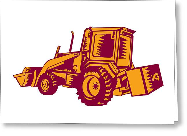 Mechanical Digger Excavator Woodcut Greeting Card