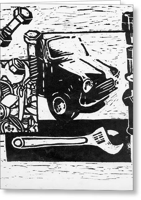 Mechanical Linoprint Greeting Card by Tom  Layland