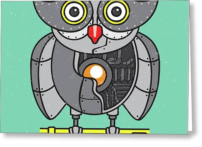 Mechanical Owl Artwork Greeting Card
