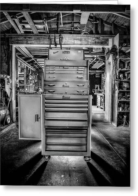 Mechanics Toolbox Cabinet Stack In Garage Shop In Bw Greeting Card