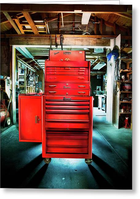 Mechanics Toolbox Cabinet Stack In Garage Shop Greeting Card
