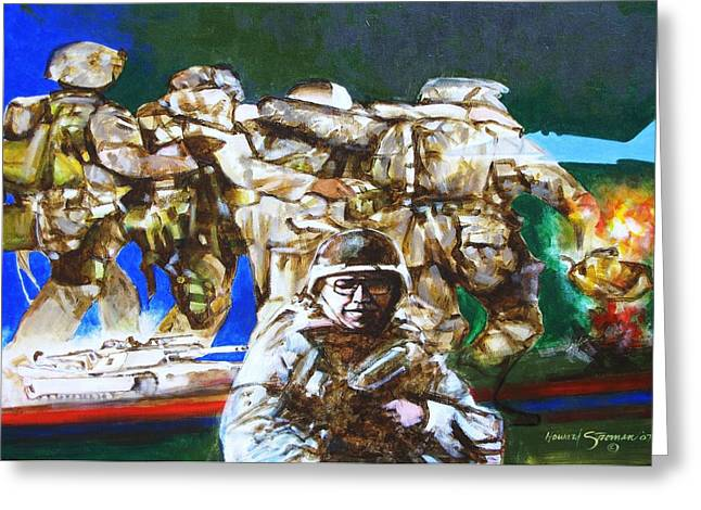 Med Evac Battle For Fallujah Iraq Greeting Card by Howard Stroman