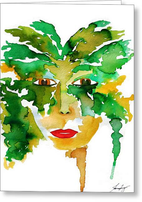 Medeina Goddess Of The Woodland Forest Greeting Card