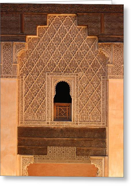 Greeting Card featuring the photograph Medersa Ben Youssef by Ramona Johnston