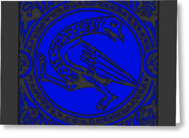 Mediaeval Bird Revision - Blue Greeting Card by Li   van Saathoff