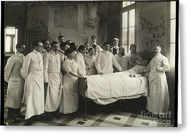 Medical Staff And Female Patient, 1910 Greeting Card by Wellcome Images
