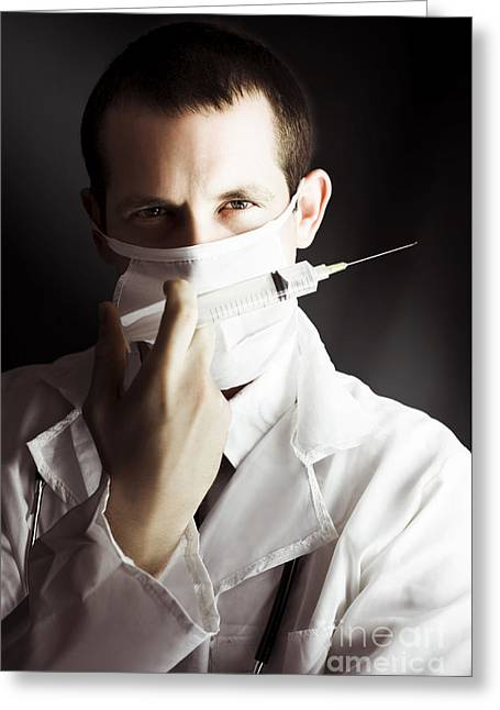 Medical Surgeon With Prescribed Medicine Injection Greeting Card by Jorgo Photography - Wall Art Gallery