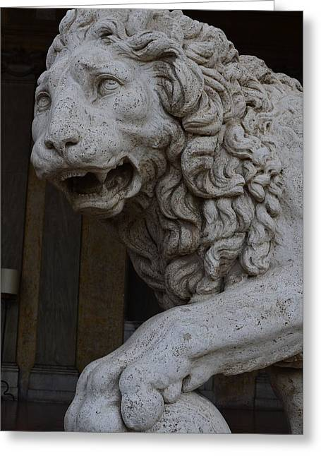 Medici Lion With Sphere Greeting Card by Tammy Mutka
